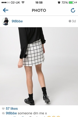 black white skirt oxfords shoes checkered