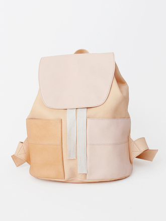 bag boho pastel backpack cute lovely soft chic sleek back to school leather brown tan school bag nude leather bag nude bag blush pink leather backpack nudee pastel bag