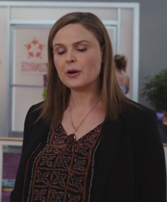 top floral dotted emily deschanel bones tv show dr. temperance brennan