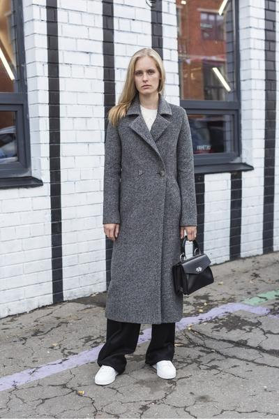 Wool and alpaca straight long coat
