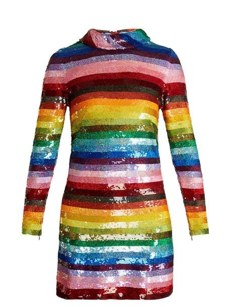 Ashish dress mini dress mini rainbow embellished silk