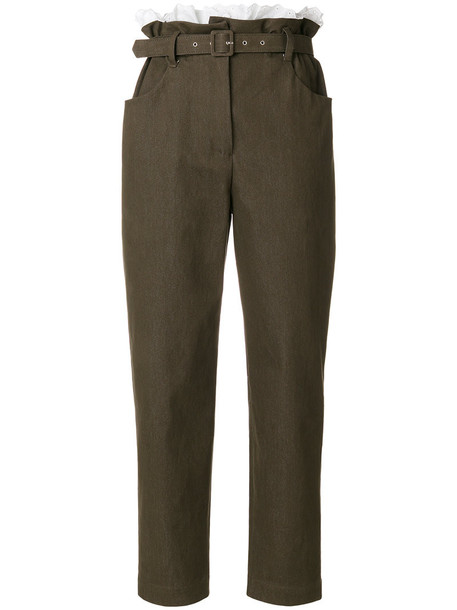 ISA ARFEN women spandex cotton brown pants