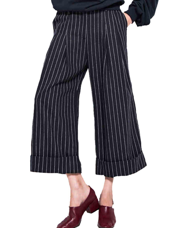 haoduoyi Women's Wide Leg Flat Front Striped Pants Blue White at Amazon Women's Clothing store:
