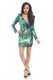 blue sequins,sequin dress,colored sequins,wrap dress,long sleeve mini dress,mini dress,www.ustrendy.com