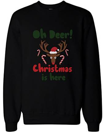 2d7b7e2c Oh Deer Christmas Is Here Cute Sweatshirts Holiday Funny Pullover ...