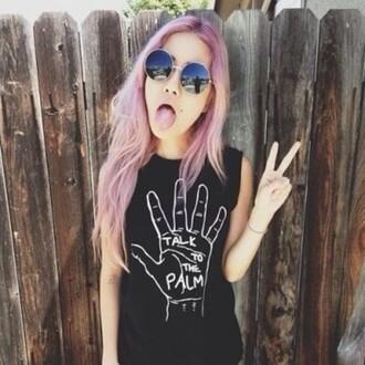 t-shirt black white pink sunglasses pink hair sleeveless peace black t-shirt muscle shirt pastel hair