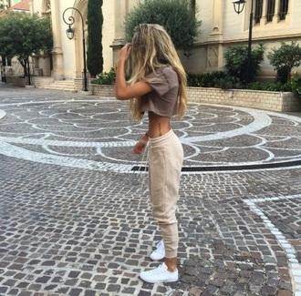 pants beige joggers sporty trendy tan tank top
