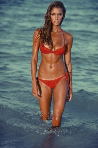 swimwear beach bikini red string bottoms red bikini red bathing suit