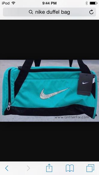 bag nike teal nike duffel bag black straps