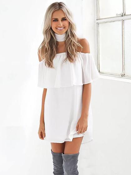 0a99f252878a White Off Shoulder Ruffle Shift Dress