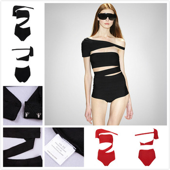 Aliexpress.com : buy 2015 oblique shoulder rayon black hl bandage swimsuit one pieces red brand cut out swimwear sexy beachwear xs l from reliable swimsuit vs suppliers on igoodbuy