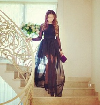 dress black dress fashion black sheer dress style prom dress