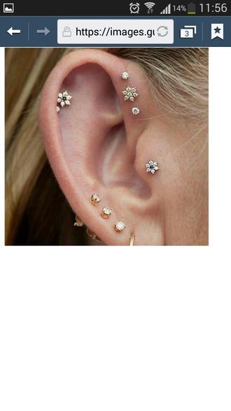 jewels flowers silver blue earrings helix piercing piercing