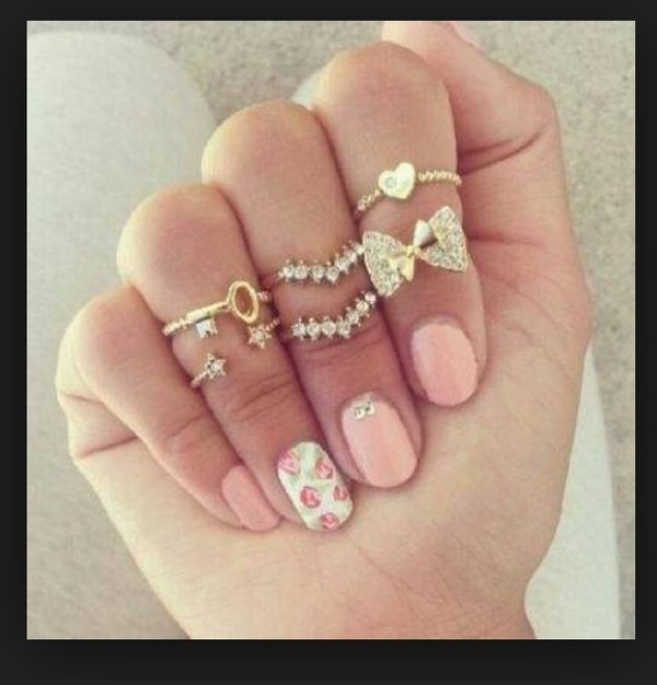 jewels gold midi rings pink nail polish
