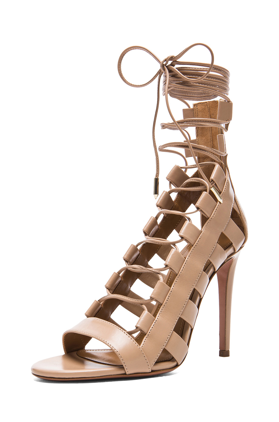 7773ed5ee9e Aquazzura Amazon Leather Heels in Nude