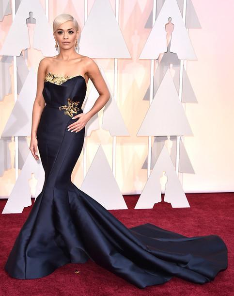 dress rita ora gown mermaid gown navy marchesa oscars 2015
