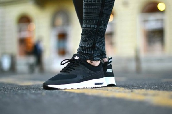 shoes nike air max nike air max thea nike air max thea black white nike sneakers sneakers running nike running shoes