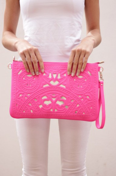 bag clutch pink neon statement