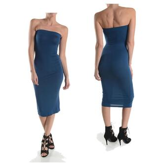 dress tube dress midi strapless knit party clubwear date fitted bodycon