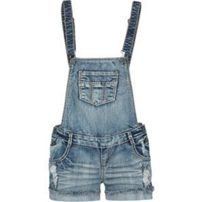 VANILLA STAR Raw Edge Cuff Womens Denim Overalls 191562873 | rompers __cl_amp__ | Clothia