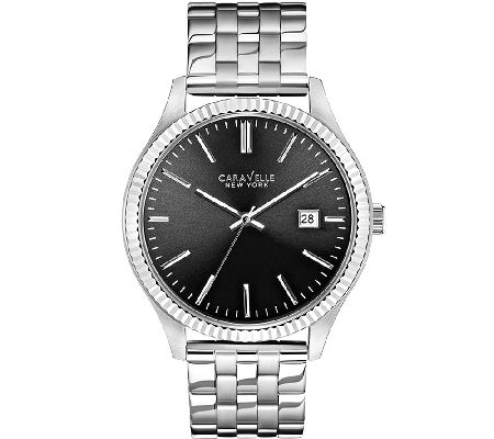 Caravelle New York Mens Silvertone Watch — QVC.com