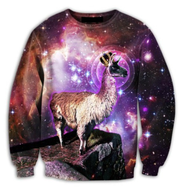 sweater llama space pullover dope amazing stars style girl guys t-shirt t-shirt long sleeves