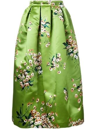 skirt floral print green