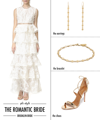 bklyn bride blogger dress jewels shoes lace dress white lace dress earrings bracelets high heel sandals sandals