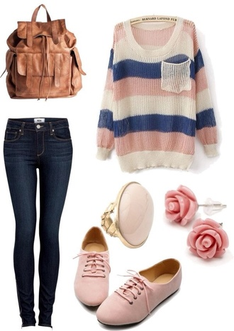 sweater where to get these shoes? shoes jeans pretty little liars stripes outfit top colorful slouchy sweater slouchy shirt salmon pink navy blue sweater
