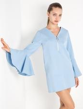 dress,denim stretch bell sleeve zip dress by new revival,fit and flare dress,bell sleeve dress,denim,denim dress,shift dress,ring zipper dress,pixie market,new revival