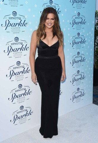 dress prom dress maxi dress black khloe kardashian top
