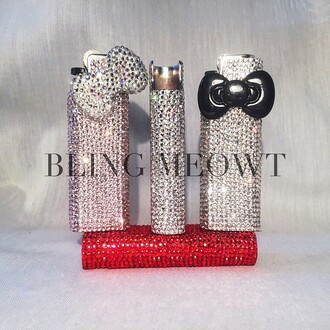 home accessory embellished cute bling bling-bling the bling ring style swarovski crystal rhinestones hello kitty hello kitty bow crystals lighter pretty jewels nail accessories