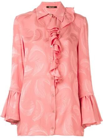 shirt jacquard purple pink top