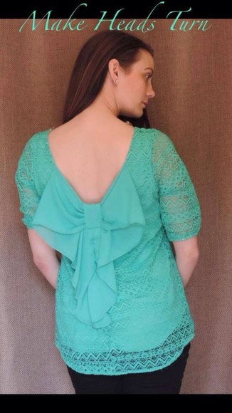 mint blouse lace top bow top clothing boutique spring trends 2014