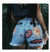 shorts,high wasted patches denim shorts