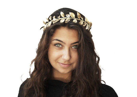 Grecian Headpiece Goddess Gold Leaf Crown by BloomDesignStudio d0b84e24c28