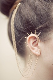 jewels,hair,earrings,hair bun,gold,gold jewelry,hair accessory,spiked,ear cuff,spikes,chain