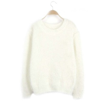 Womens Knitted White Sweaters Mujer Long Sleeve Solid Color Sweater Ladies  Tops Autumn Winter Casual Knitwear