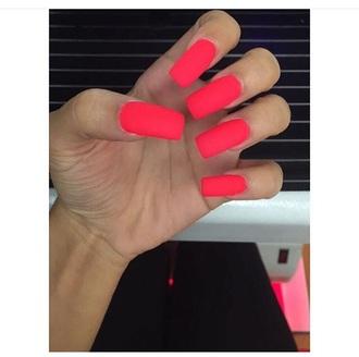 nail polish bright summer long acrylic nails acrylic nail polish acrylics red tomato orange pink neon neon nail polish red nails