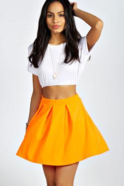 Tianna Neon Box Pleat Skater Skirt at boohoo.com
