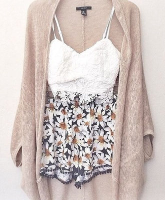 shorts daisy shorts boho boho chic sweater blouse cardigan top lace lace bralette bralet white
