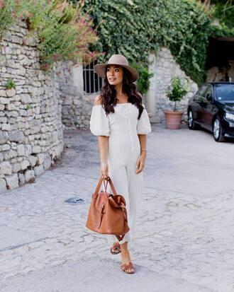 jumpsuit tumblr white jumpsuit bag brown bag hat shoes slide shoes off the shoulder