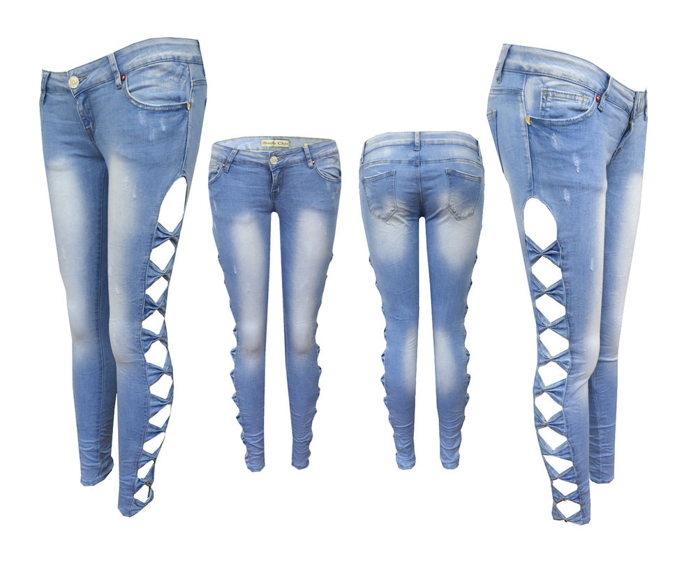 Womens Slim Fit Side Bow Cut Out Ripped Denim Washed Jeans Trousers 8 10 12 14