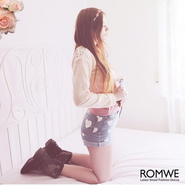 ROMWE   Hearts Print Ligth-blue Denim Shorts, The Latest Street Fashion