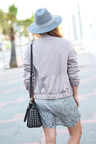 jacket tumblr mini dress grey dress bag shoulder bag hat fedora grey hat satin bomber bomber jacket grey jacket all grey everything
