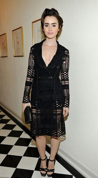 dress lily collins sandals mesh all black everything