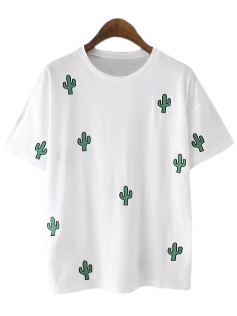 White Cactus Embroidery Casual T-shirt -SheIn(Sheinside)