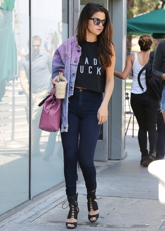 shirt selena gomez tank top jeans shoes
