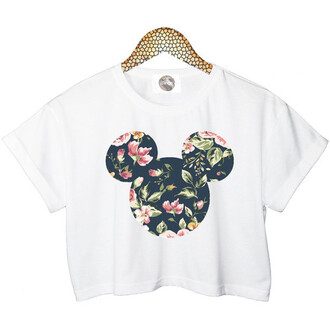 top t-shirt crop tops disney floral white cute mickey mouse