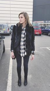 katiquette,blogger,flannel shirt,black jacket,scarf,jeans,jacket,jewels,shirt,black fur jacket,fur jacket,faux fur jacket,tartan,tartan shirt,plaid shirt,boots,black boots,skinny jeans